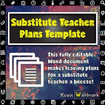 Substitute Teacher Plans Template