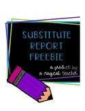Substitute Teacher Report FREEBIE