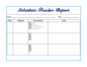 Substitute Teacher Report Form, To Leave for Teacher by April ...