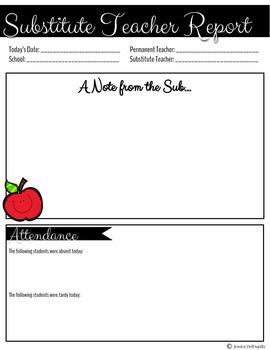 Substitute Teacher Report Form (for Permanent Teachers)