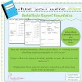 Substitute Teacher Report Templates