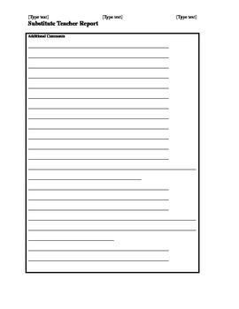 Substitute Teacher Report (for teachers)