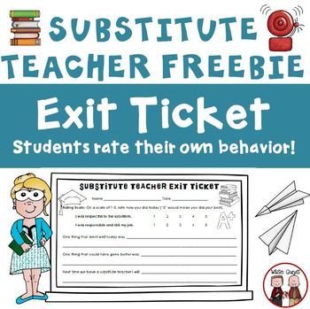 Substitute Teacher Student Exit Tickets