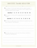 Substitute Teacher Student Reflection Sheet