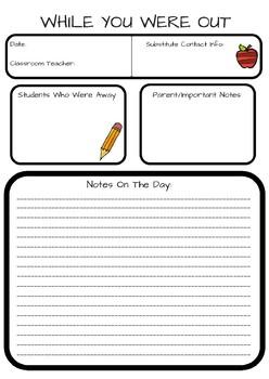 Substitute Teacher / Supply Note
