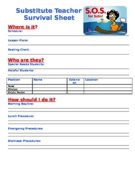 Substitute Teacher Survival Sheet