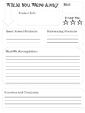 Substitute Teaching Note Page