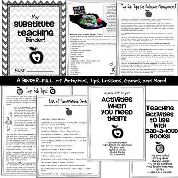 Substitute Teacher - Substitute Teaching Activities Survival Kit