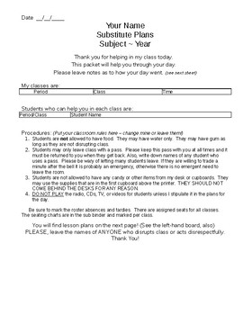 Substitute Template Packet