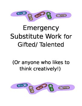 Substitute Work Packet Multi Grade Level