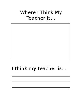 """Substitute Worksheet for Kids """"Where I think my teacher is..."""""""