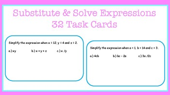 Substitute and Solve Expressions: Task Cards