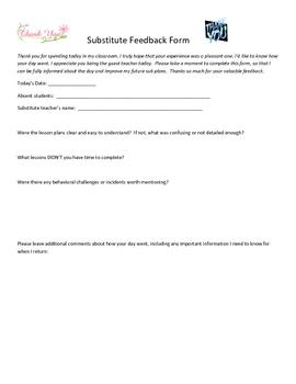 Substitute guest teacher feedback form