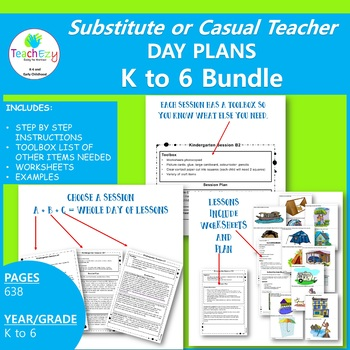 Substitute or Casual Teacher Day Plans Kindergarten to Year 6 Bundle