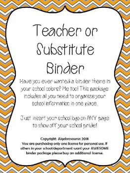 Substitute or Teacher EDITABLE Binder School Colors Orange White INSERT LOGO!