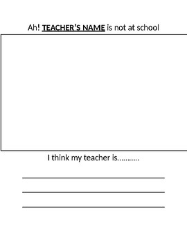 Substitute plans- Writing