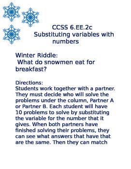 Substituting Variables 6.EE.2c