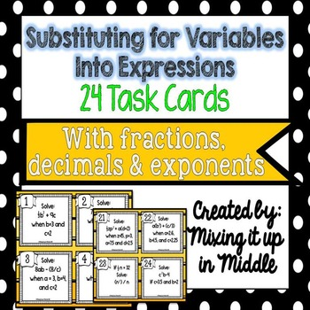 Substituting Variables into Algebraic Expressions Task Cards