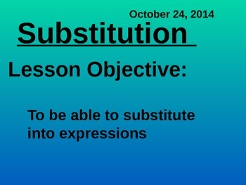 Substitution - Common Core Math 1 and 2