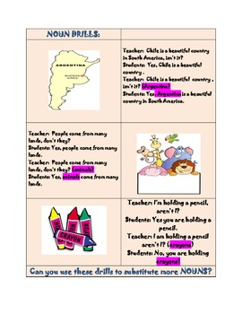 Substitution Drill to Practice Nouns and Verbs