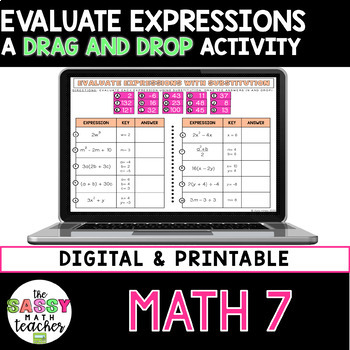 Substitution (Evaluating Expressions) Notes and Practice Perfect for INB