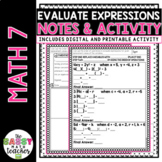 Substitution (Evaluating Expressions) Notes and Practice P