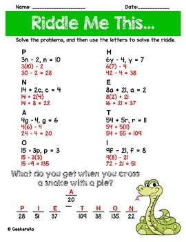 Substitution Math Riddle