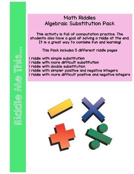 Substitution Math Riddles Pack