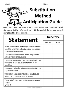 Substitution Method No Prep Lesson
