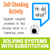 Substitution Method for Solving Systems of Equations - Fun Activity