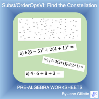 Substitution/ Order of Operations VI: Find the Constellation