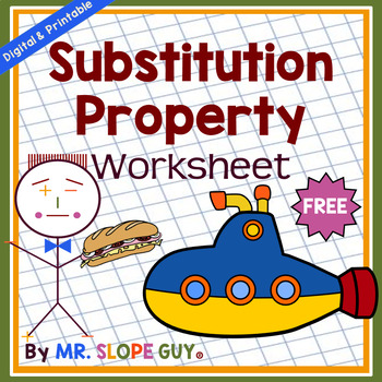 Substitution Property of Equality Common Core 6.EE.B.6 Wor