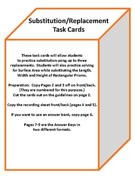 Substitution/Replacement Task Cards