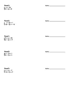 Substitution System of Equations Speed Dating