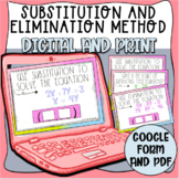 Substitution and Elimination Method Task Cards (Digital an