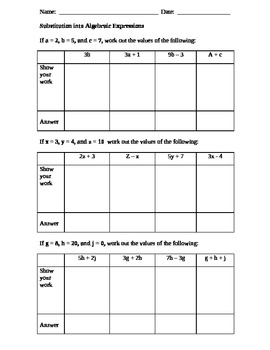 Substitution into Algebraic Expressions practice