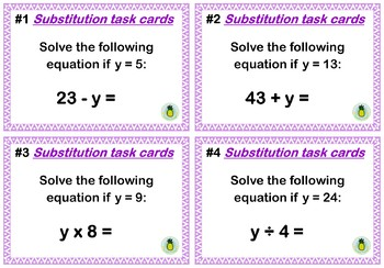 Substitution task cards