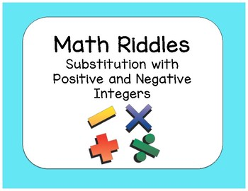 Substitution with Positive and Negative Integers Math Riddle