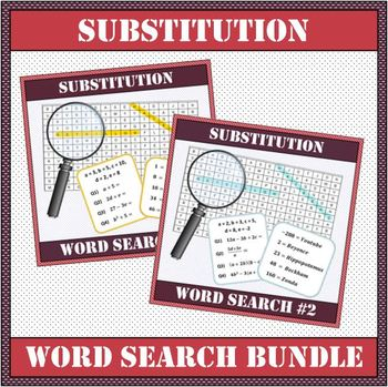 Algebra - Substitution Word Search DOUBLE PACK