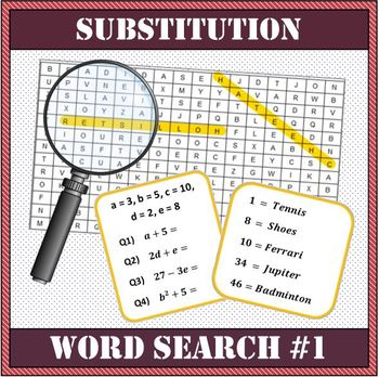 Algebra - Substitution Word Search Worksheet #1