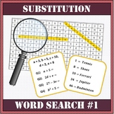 Algebra - Substitution Word Search Worksheet #1