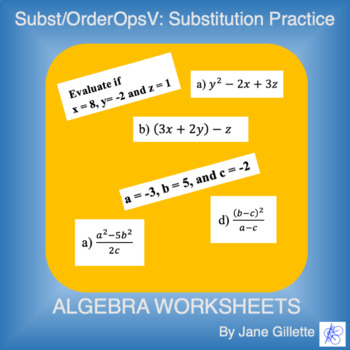 Substitution/Order of Operations V: Substitution Practice