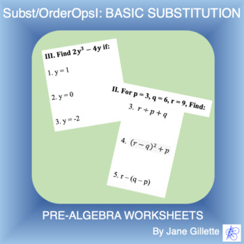 Substitution/Order of Operations I: Basic Substitution