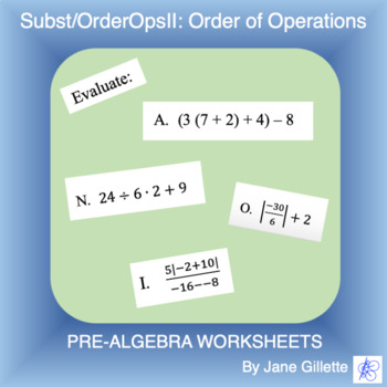 Substitution/Order of Operations II: Order of Operations