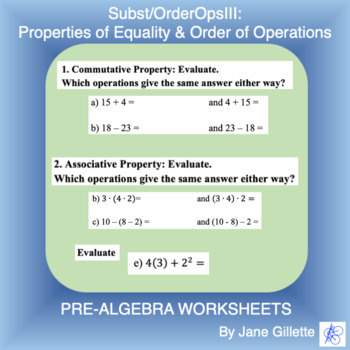 Substitution/Order of Operations III: Props of Equality and Order of Operations