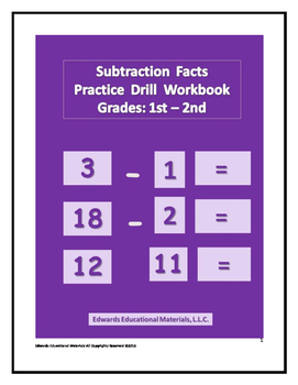 Substraction Facts Practice Drill Workbook