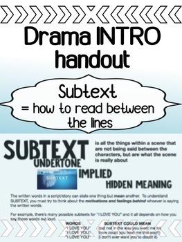 Drama - Subtext Handout - Understanding a script