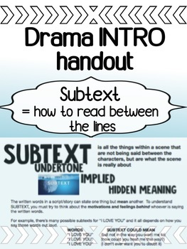 Drama - Subtext Handout - Reading Between the Lines