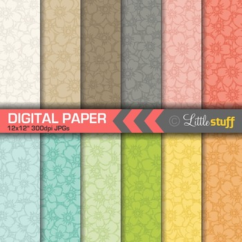 Subtle Floral Digital Paper; Textured Flower Digital Backgrounds