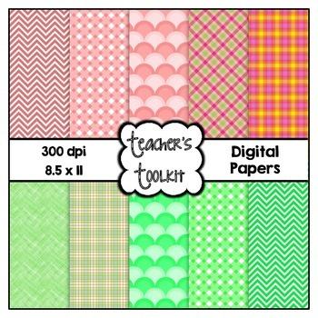 Subtle Spring Digital Background Papers {8.5 x 11} Clip Art CU OK